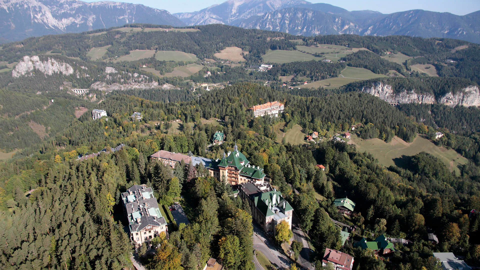Suedbahnhotel aerial panoramic view with Waldhof and Curehouse